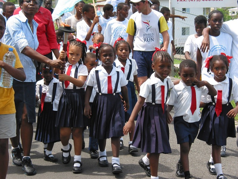 Primary school children walk in group 2, Grenada