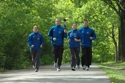 Team running in park