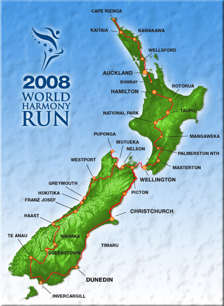 New Zealand World Harmony Run Itinerary 2008